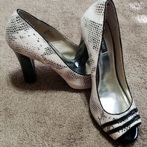 Shoes - White house black market blaire snakeskin heels